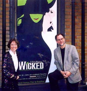 Carol de Giere and Gregory Maguire outside the Curran Theatre, San Francisco 2003